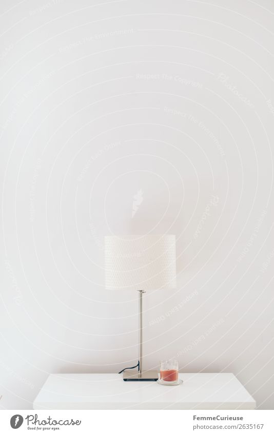 Lamp & candle on white chest of drawers Lifestyle Living or residing Minimalistic Candle Chest of drawers Table lamp White Bright Empty sideboard