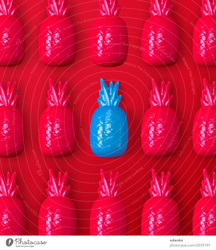 many red and one blue plastic toy pineapples Fruit Playing Decoration Toys Plastic Exceptional Simple Bright Cute Blue Red Loneliness Colour Idea Pineapple