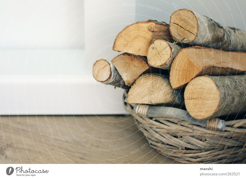 enough wood in front of the huts Wood Brown Basket Firewood Heat Decoration Colour photo Interior shot Deserted Stack Symbols and metaphors Stack of wood