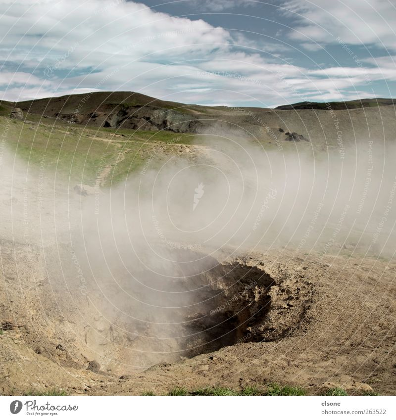 smoky valley Environment Nature Landscape Elements Earth Fog Warmth Hill Volcano Threat Smoke Iceland reykjadalur Hot springs hengill Geothermy Colour photo