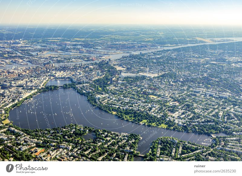 Aerial view Hamburg Alster Aerial photograph Summer Sailing Sailboat Skyline Town
