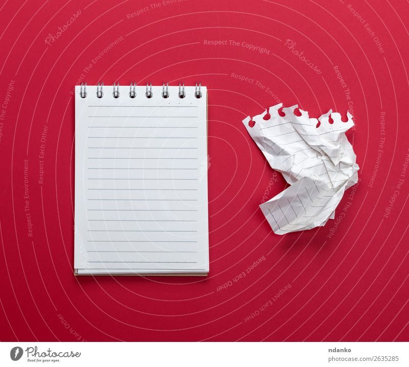 notebook with white sheets and a crumpled sheet of paper School Study Office Business Paper Piece of paper Write Red White Colour Information Communication