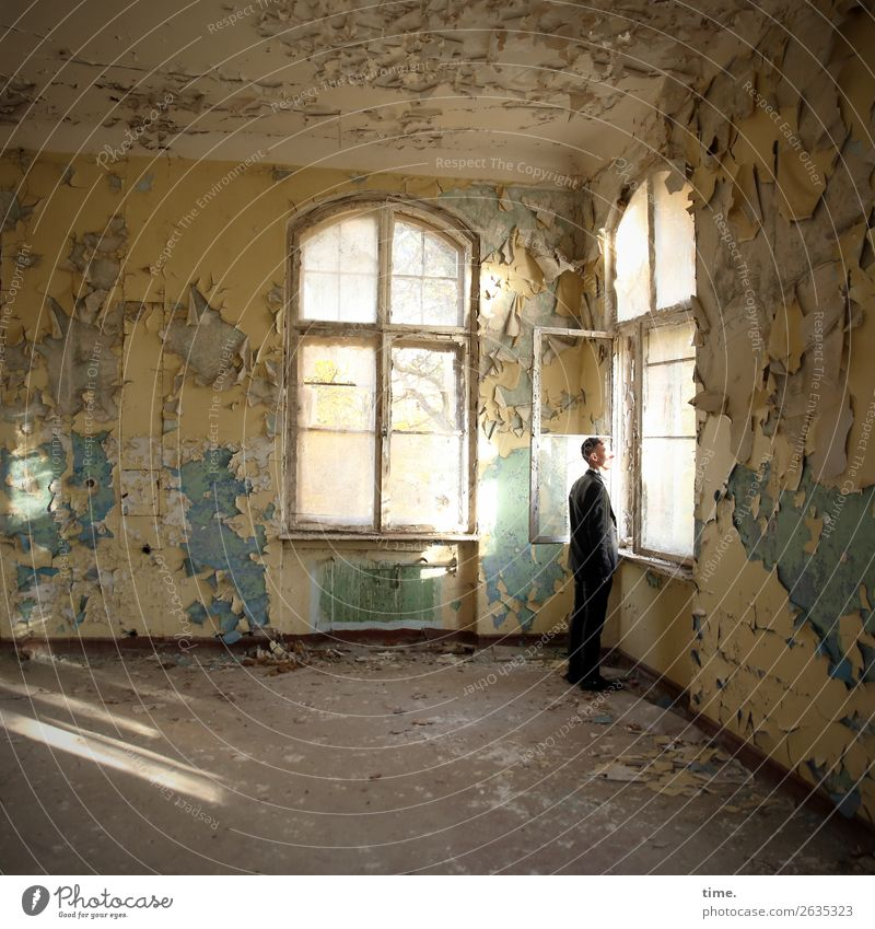 other window, other thoughts Room Masculine Man Adults 1 Human being Ruin Wall (barrier) Wall (building) Window lost places Tourist Attraction Suit Short-haired