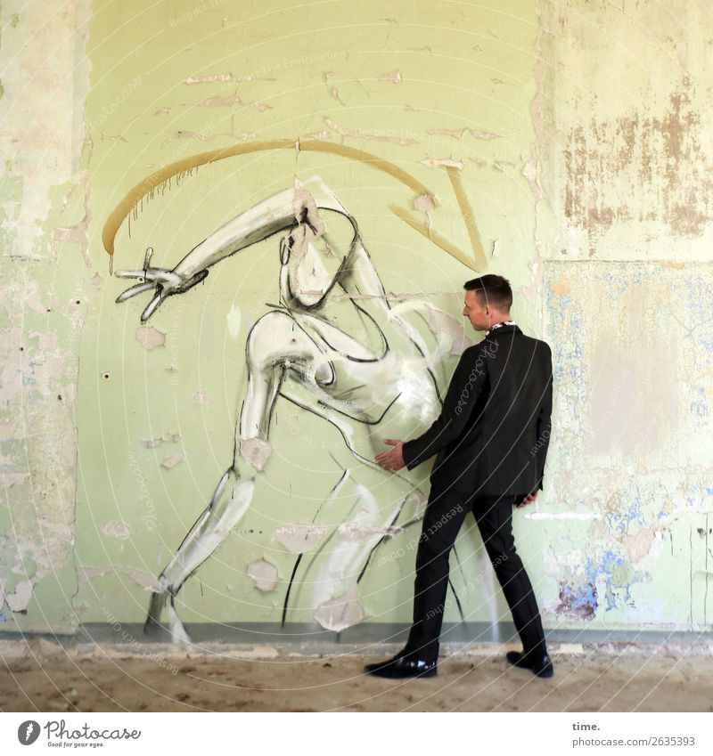 dancing class Masculine Man Adults 1 Human being Art Artist Painting and drawing (object) Actor Ruin Wall (barrier) Wall (building) lost places Suit Brunette