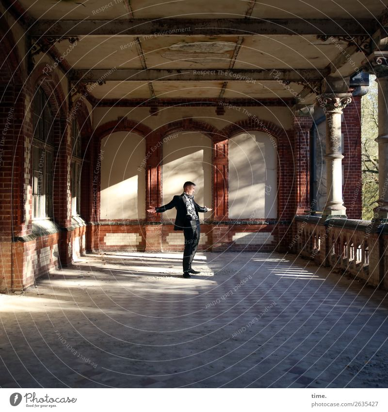 comeback Masculine Man Adults 1 Human being Dream house Ruin Architecture lost places Wall (barrier) Wall (building) Facade Balcony Terrace Tourist Attraction