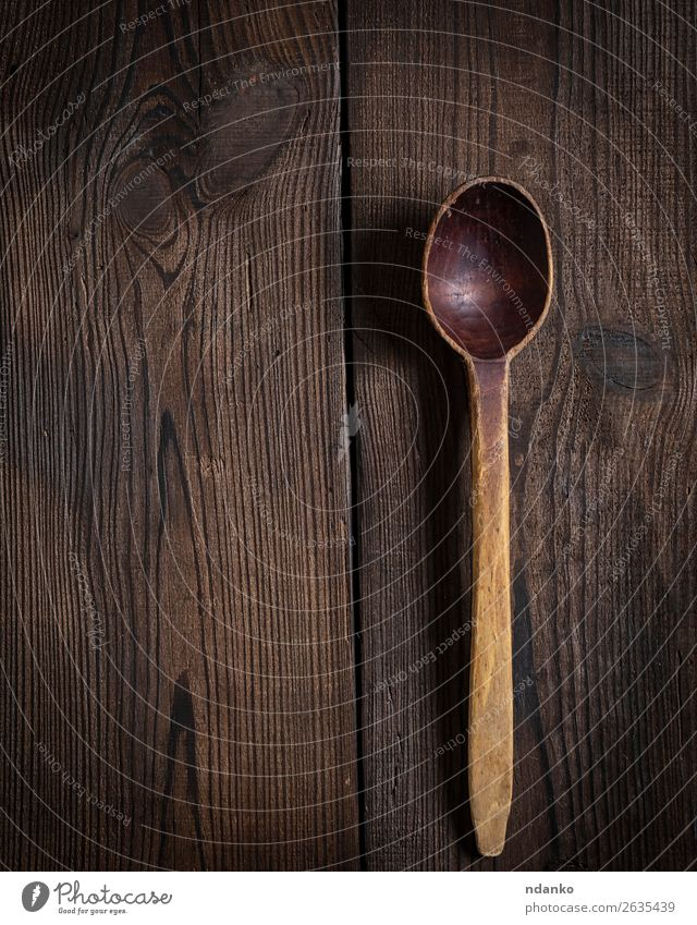 very old empty wooden spoon Spoon Table Kitchen Tool Wood Old Large Natural Retro Brown Colour Tradition used ladle cooking utensil background kitchenware food