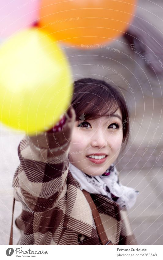 Leipzig City Girl II Feminine Young woman Youth (Young adults) Woman Adults Head Arm 1 Human being 18 - 30 years Joy Balloon Coat Checkered Asians Chinese China