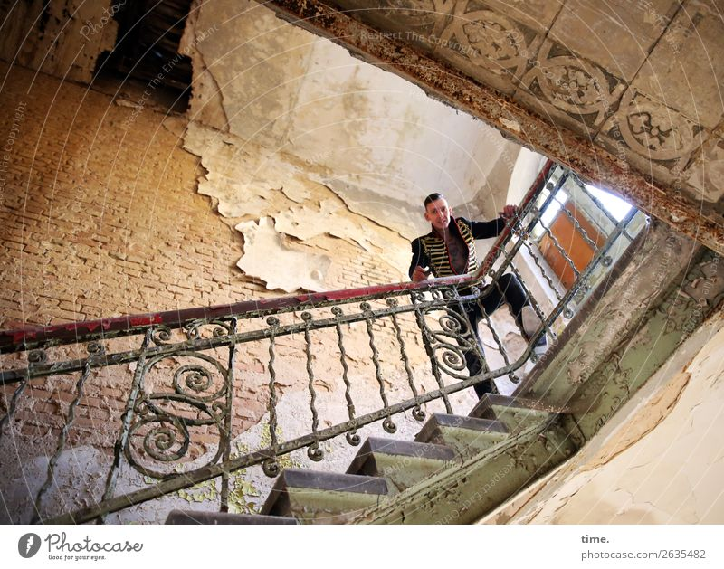 rock master Masculine Man Adults 1 Human being Artist Dream house Ruin Architecture lost places Banister Wall (barrier) Wall (building) Stairs Window