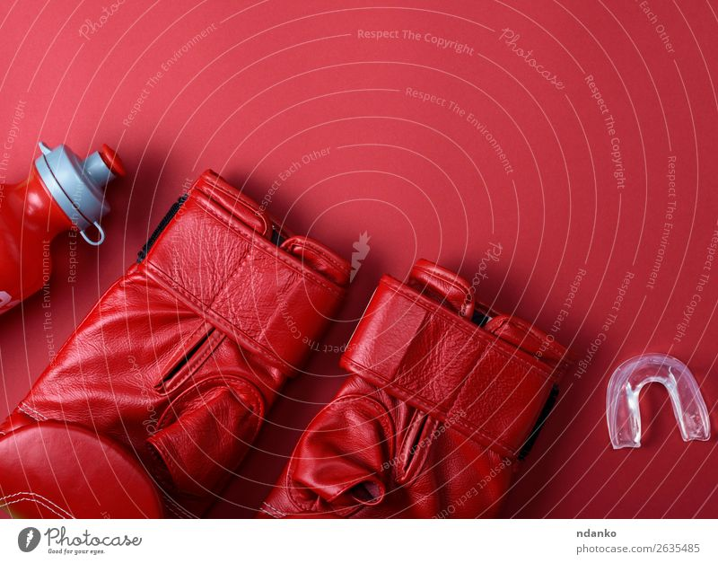 red leather boxing gloves Colour Red Sports Above Action Creativity Fitness Protection Bottle Conceptual design Competition Leather Gloves Set Practice Fist