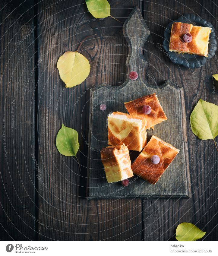 square pieces of cheesecake with pumpkin Cheese Dairy Products Fruit Dessert Nutrition Eating Breakfast Lunch Table Autumn Leaf Wood Fresh Delicious Brown