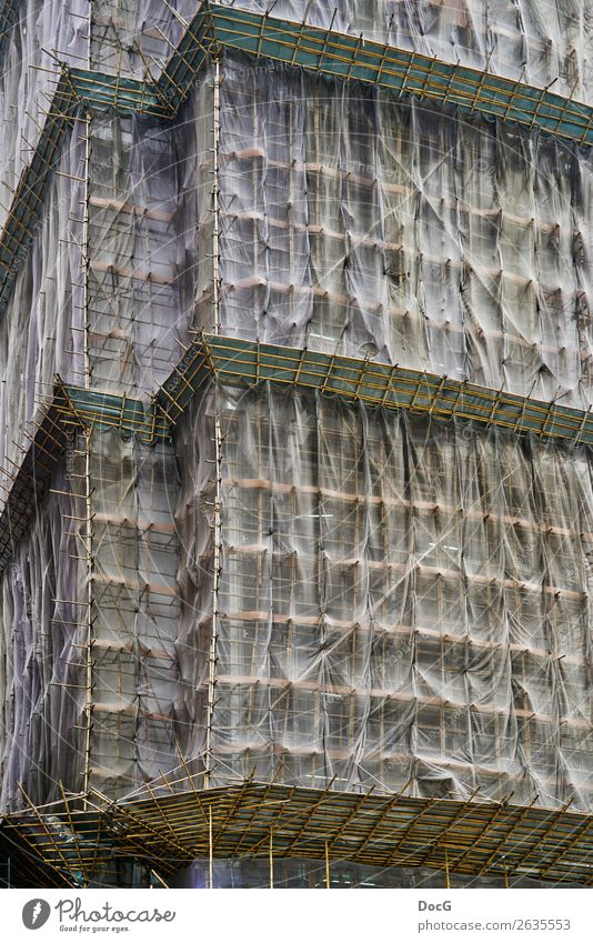Building construction in China - bamboo scaffolding instead of iron bars Downtown High-rise Architecture Wall (barrier) Wall (building) Facade Wood