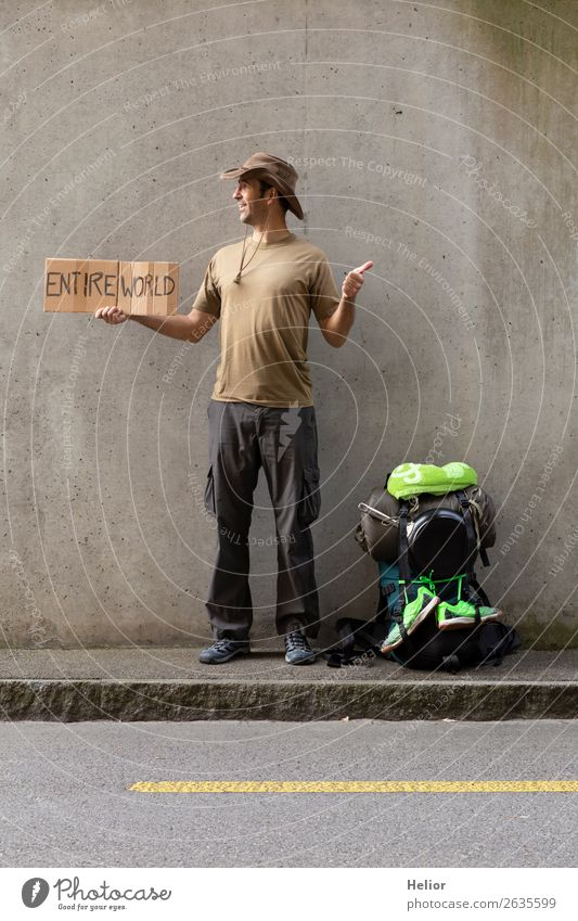Backpacker travels all over the world by hitchhiker Vacation & Travel Tourism Trip Adventure Far-off places Freedom Human being Man Adults Hand 30 - 45 years