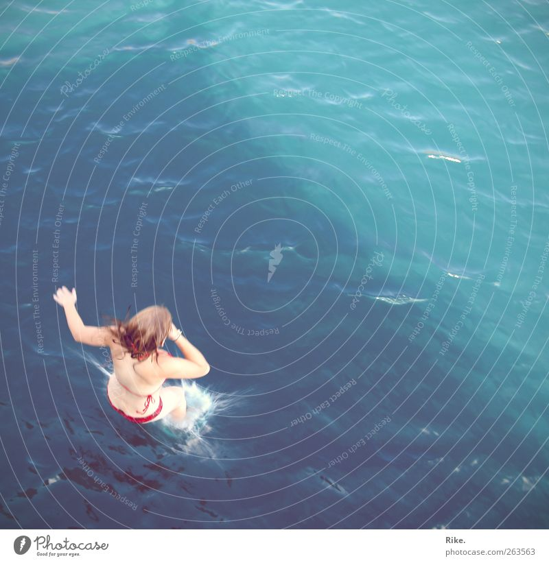 Dive. Vacation & Travel Adventure Freedom Summer Summer vacation Ocean Swimming & Bathing Human being Feminine Young woman Youth (Young adults) Body Skin 1