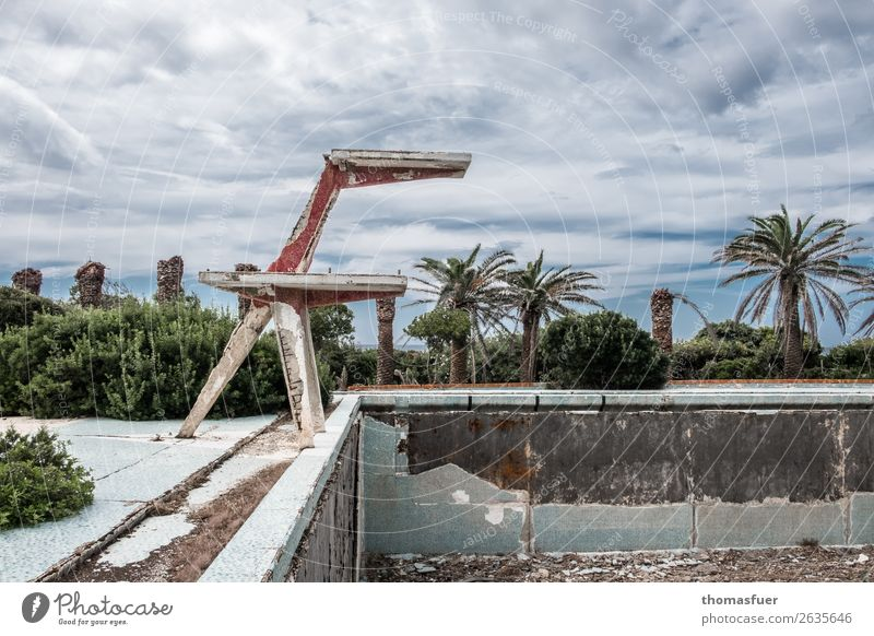 Summer Plant Sun Dark Stone Swimming & Bathing Trip Park Dirty Bushes Romance Transience Broken Italy Change Concrete