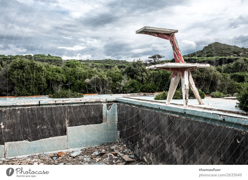 dilapidated open air pool, diving platform Swimming pool Swimming & Bathing Adventure Summer Aquatics springboard Sky Clouds Horizon Bad weather Tree Bushes