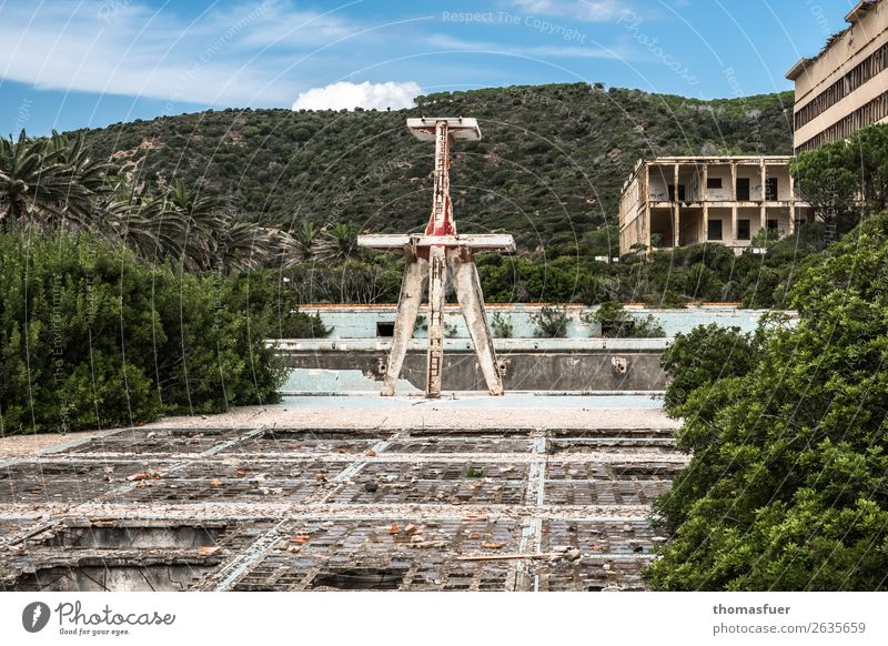 dilapidated open-air pool, decay Swimming pool Summer Swimming & Bathing Landscape Sky Clouds Horizon Sun Beautiful weather Bushes Palm tree Park Sardinia Italy