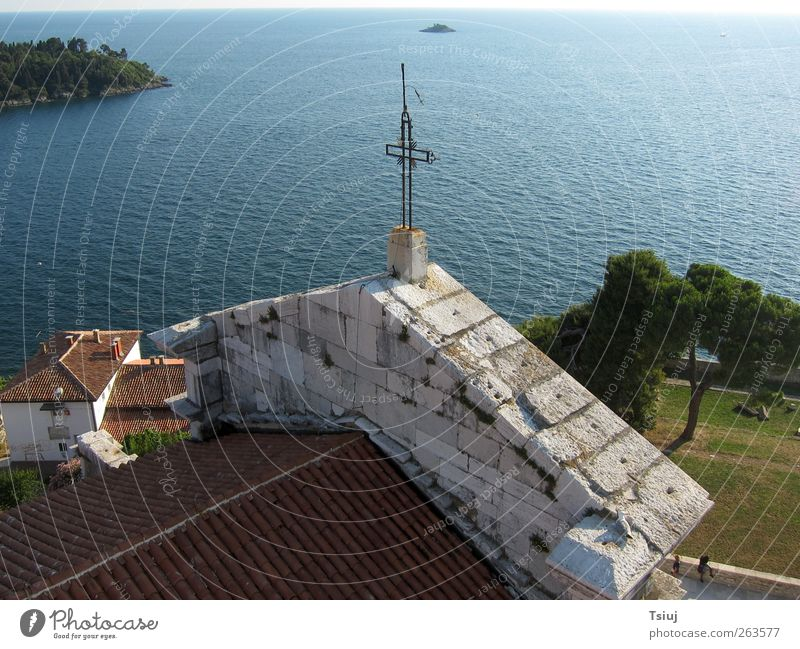 church view Vacation & Travel Coast Old town Church Crucifix Infinity Cape Kite Aerial Photography Aerial photograph Nave Croatia Colour photo Exterior shot