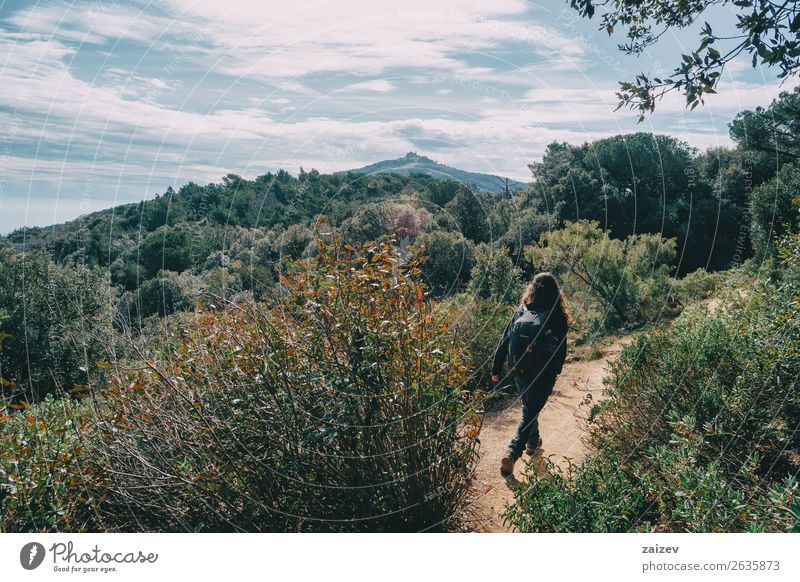 Woman walking in the distance on a trail among mountains Human being Vacation & Travel Nature Summer Green Landscape Tree Joy Forest Mountain Street Lifestyle