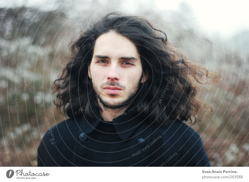 . Masculine Young man Youth (Young adults) Man Adults Hair and hairstyles Face 1 Human being 18 - 30 years Autumn Park Jacket Brunette Long-haired Curl Natural
