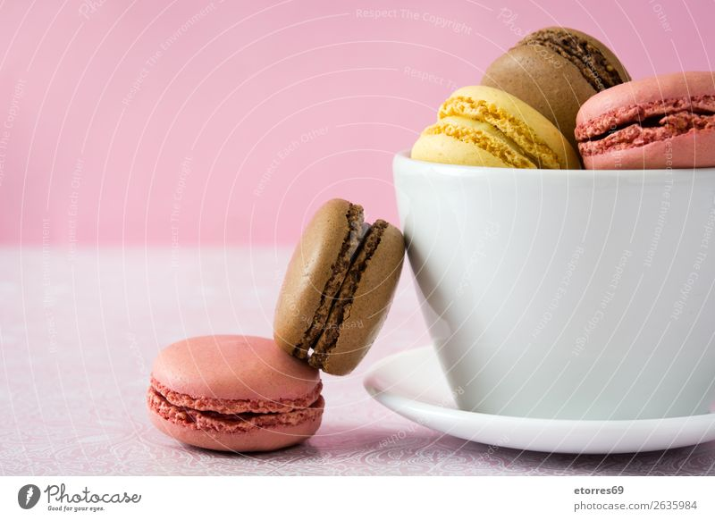 Colorful macarons Macaron Strawberry Lemon Dessert Coffee Yellow Chocolate Confectionary Raspberry Tradition Candy cut out cookies Tasty Baking French Cooking