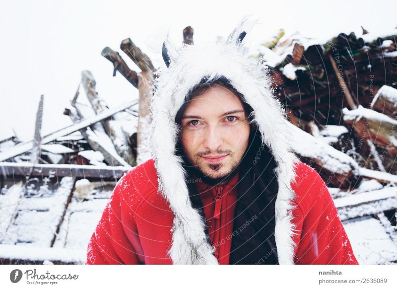 Young and attractive man enjoying a snowy winter day Human being Nature Youth (Young adults) Man Young man White Winter Healthy Lifestyle Adults Cold Natural