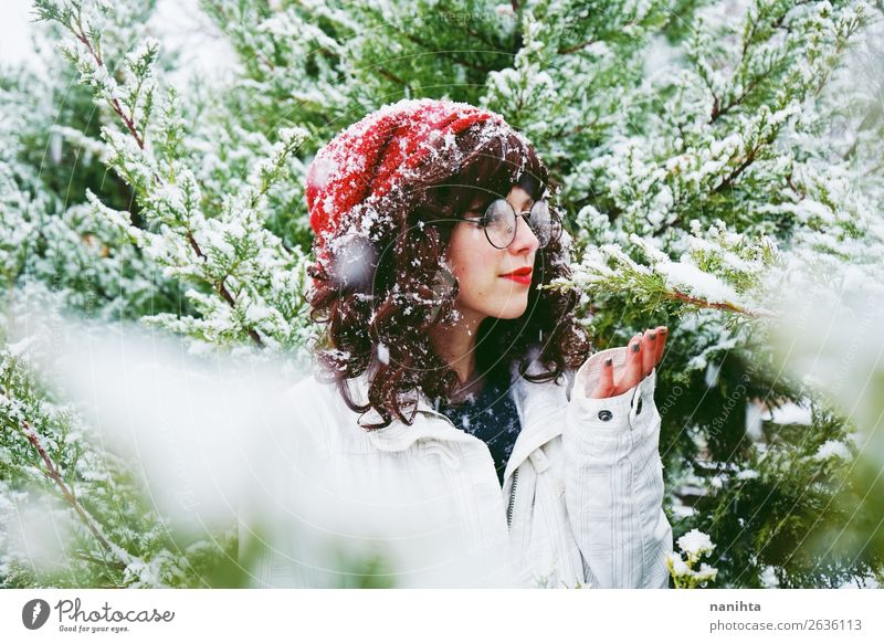 Young woman enjoying a snowy winter day Woman Human being Nature Youth (Young adults) Christmas & Advent Beautiful Green Tree Forest Winter 18 - 30 years