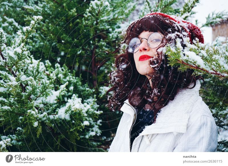 Young woman enjoying a snowy winter Lifestyle Style Joy Happy Wellness Adventure Freedom Winter Snow Winter vacation Christmas & Advent New Year's Eve