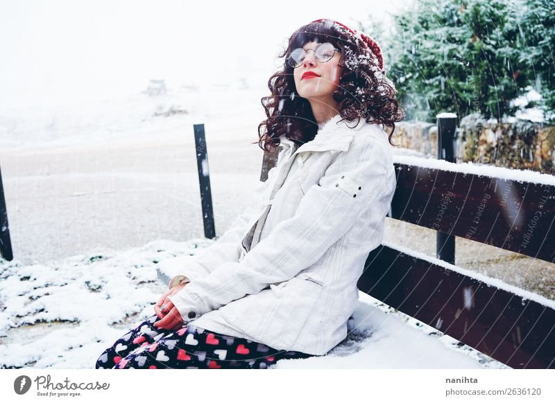 Young woman enjoying a snowy winter day Lifestyle Style Happy Face Leisure and hobbies Freedom Winter Snow Christmas & Advent New Year's Eve Human being