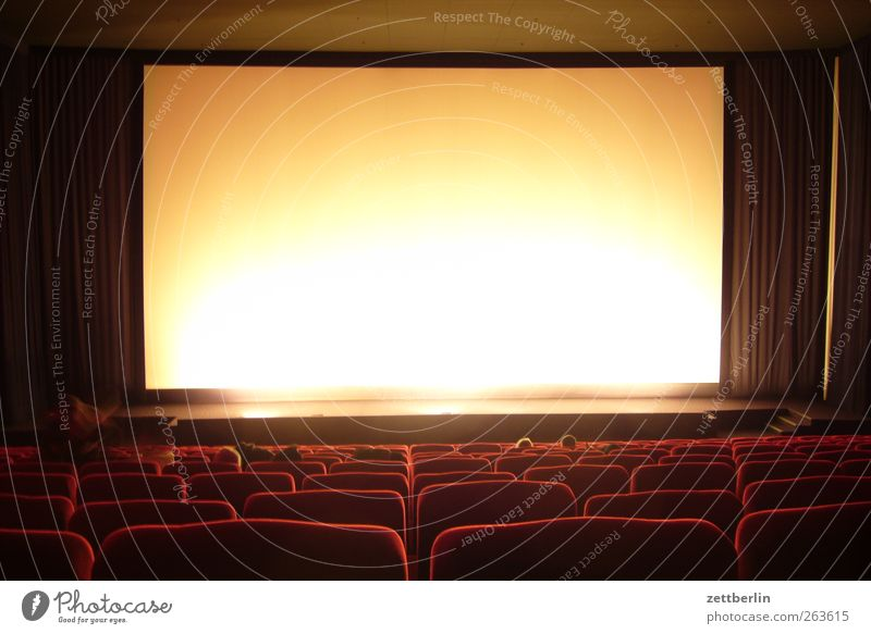 movie theater Art Culture Event Media Cinema Good Projection screen Movie hall Seat Row of seats Drape Shows Colour photo Subdued colour Interior shot Deserted