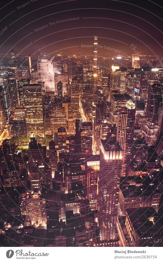 New York City at night, USA. Town Downtown Skyline Populated Overpopulated High-rise Bank building Building Wall (barrier) Wall (building) Street Modern Rich