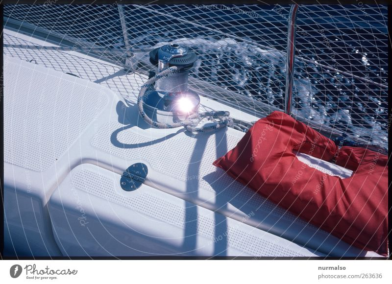 Rescue approaches Vacation & Travel Freedom Sailing Winch sea fence Ocean Sailboat Glittering Life jacket Deck Rope Safety Colour photo Morning Back-light