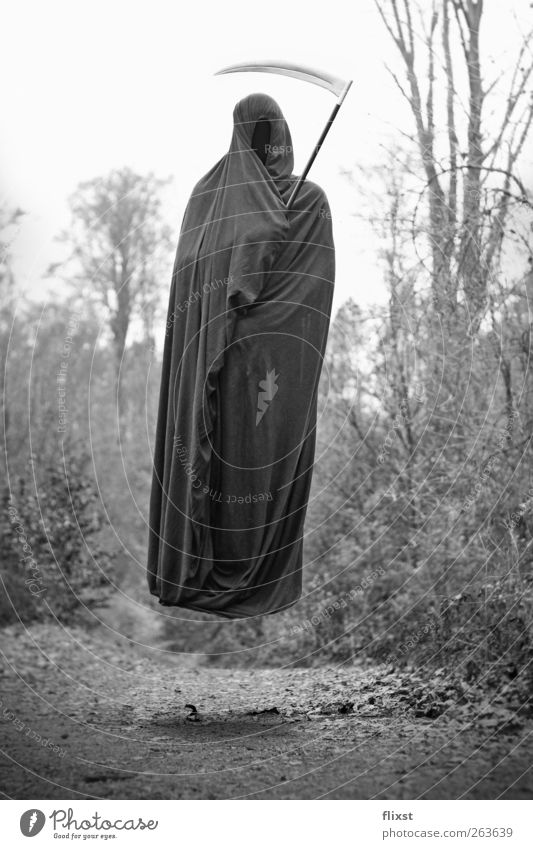 The Bed Sheet Death Androgynous Body 1 Human being Forest Fear Dangerous Hatred Fear of death Hover The Grim Reaper Cape Black & white photo Surrealism Illusion