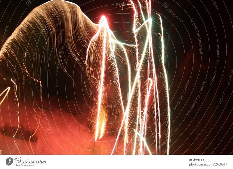 Fireworks skeleton Air Brown Gold Black Firecracker Long exposure New Year's Eve Colour photo Deserted Copy Space right Night Light (Natural Phenomenon)