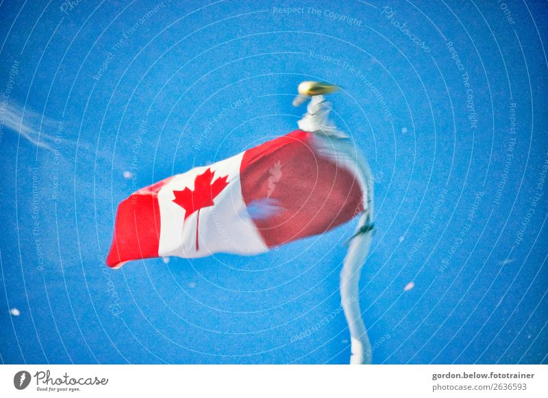 Canada's flag in motion Sky Wind Movement Blue Gold Red Black White Happy Enthusiasm Power Colour photo Exterior shot Deserted Neutral Background Day