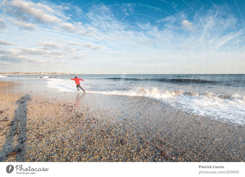 run run run Human being Masculine Young man Youth (Young adults) 1 Environment Nature Landscape Sand Air Water Sky Clouds Beautiful weather Wind Waves Coast