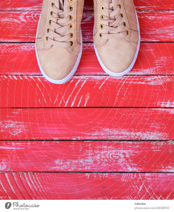 pink pair of female leather sneakers with laces Red Lifestyle Wood Sports Style Copy Space Fashion Pink Above Design Modern Footwear Fitness Clothing Idea New