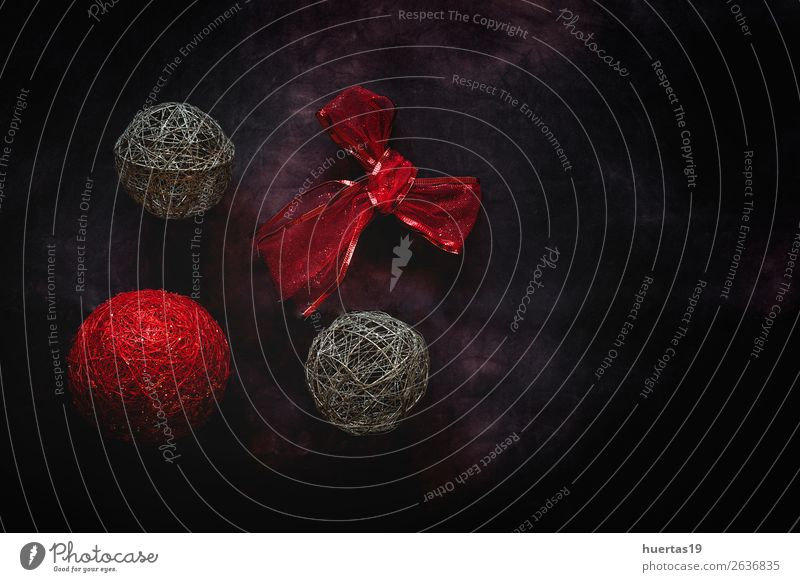 Christmas background with decorations Christmas & Advent Red Joy Winter Dark Religion and faith Style Feasts & Celebrations Art Design Decoration Elegant