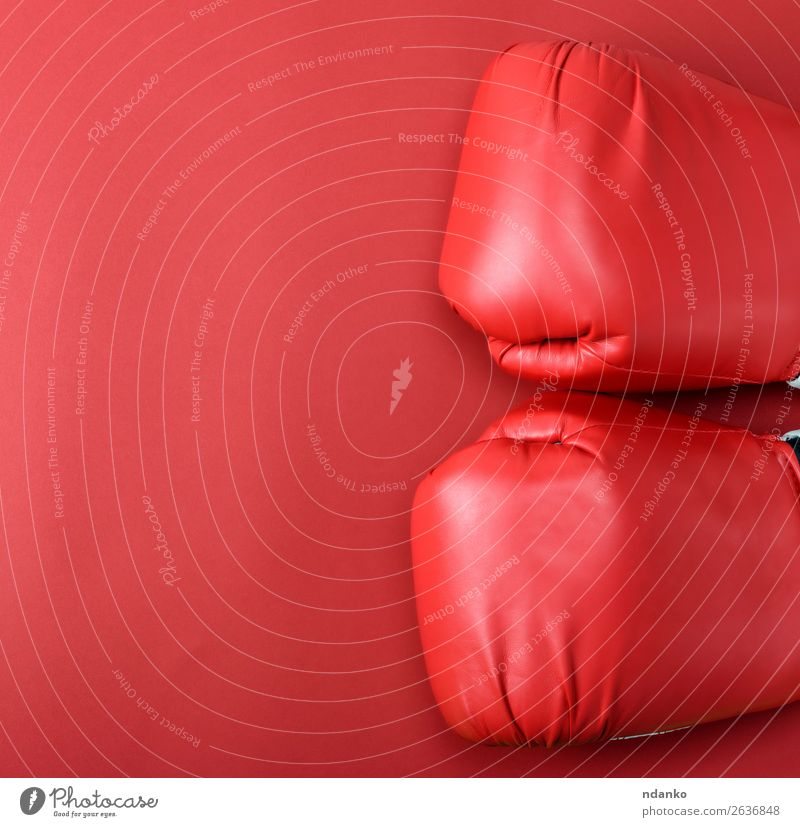 pair of red leather boxing gloves on a red background Sports Leather Gloves Fitness Above Red Protection Colour Idea Competition Creativity boxer Boxing