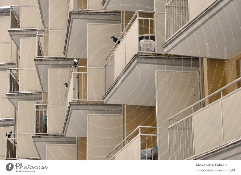 With balcony. House (Residential Structure) Deserted Manmade structures Building Architecture Balcony Handrail Sharp-edged Narrow Cramped Apartment house