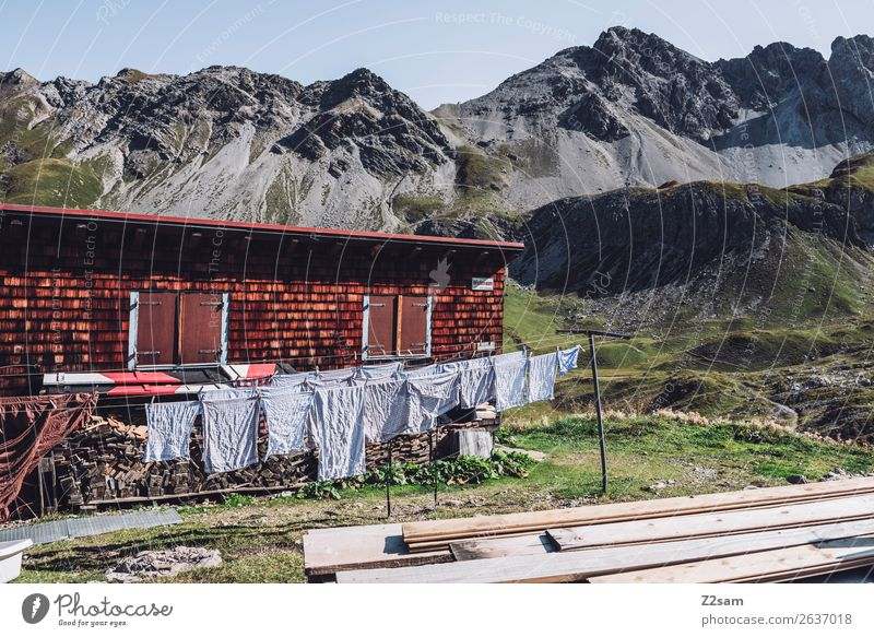 Drying laundry in a mountain hut Vacation & Travel Adventure Mountain Hiking Nature Landscape Summer Beautiful weather Alps Hut Hang Fresh Natural Loneliness
