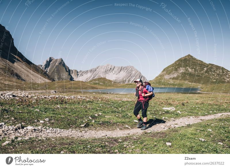 Nature Vacation & Travel Youth (Young adults) Young woman Summer Landscape Loneliness Mountain 18 - 30 years Adults Leisure and hobbies Hiking Blonde Adventure
