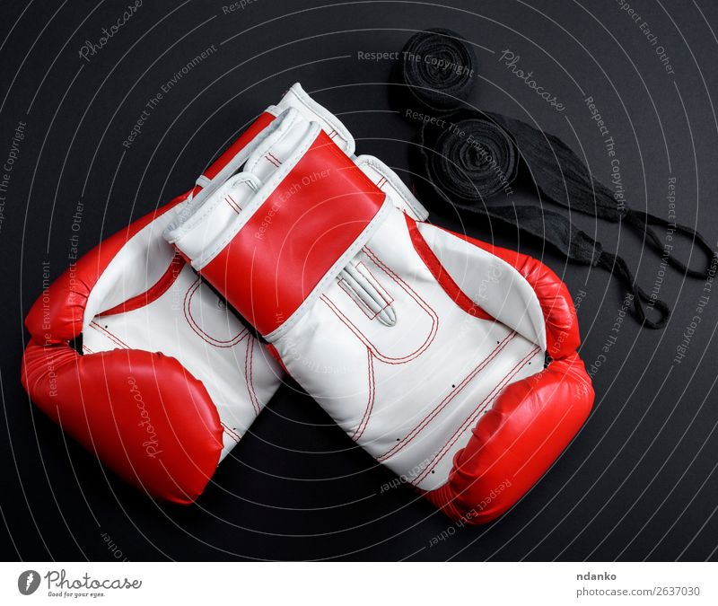 pair of red leather boxing gloves and a black textile bandage Style Sports Success Woman Adults Clothing Leather Accessory Gloves Fitness Above Red Black White