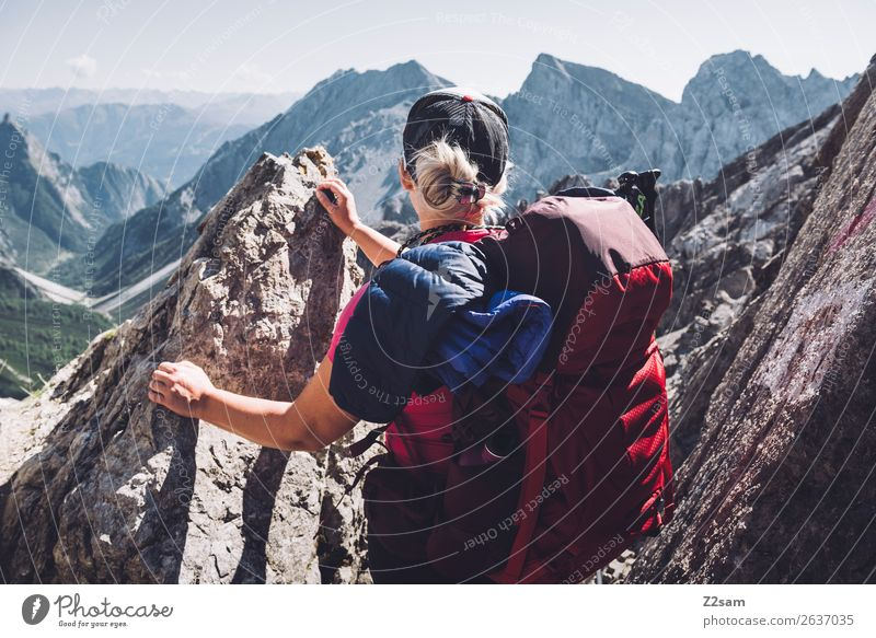 Vacation & Travel Youth (Young adults) Young woman Loneliness Mountain 18 - 30 years Adults Freedom Leisure and hobbies Hiking Vantage point Blonde Adventure