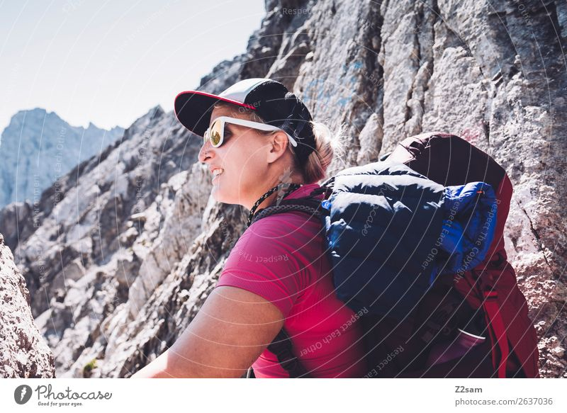 Young woman on top E5. Vacation & Travel Adventure Mountain Hiking Youth (Young adults) 18 - 30 years Adults Nature Landscape Summer Beautiful weather Rock Alps