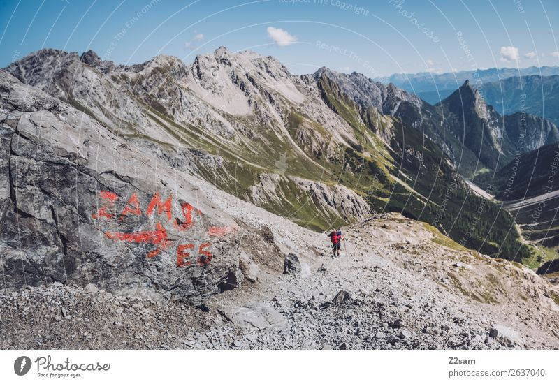 Descent to Zams | European long-distance hiking trail E5 Vacation & Travel Adventure Mountain Hiking Young woman Youth (Young adults) Nature Landscape Summer