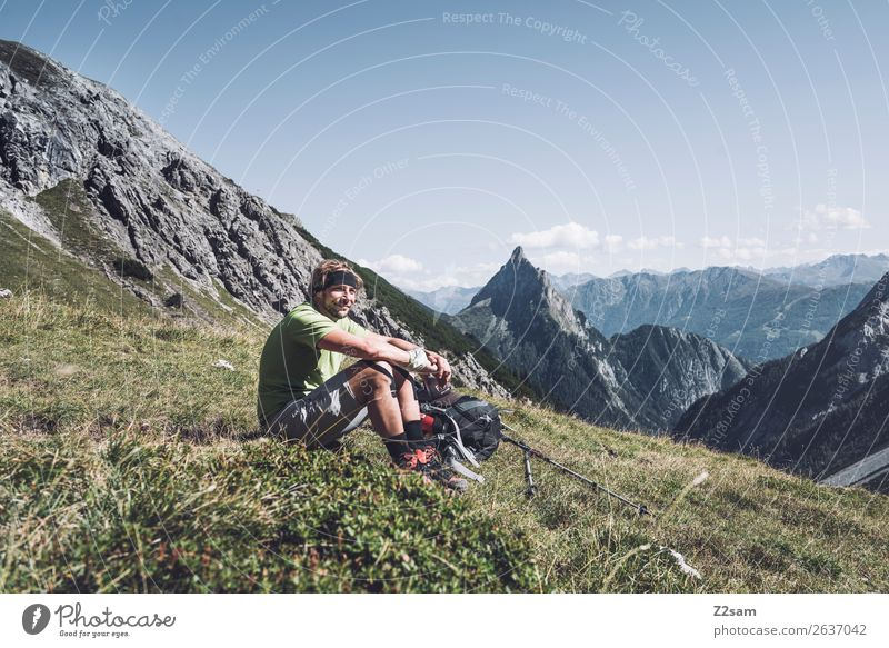 Nature Vacation & Travel Youth (Young adults) Summer Young man Landscape Loneliness Mountain Adults Meadow Happy Hiking Blonde Sit Adventure Beautiful weather