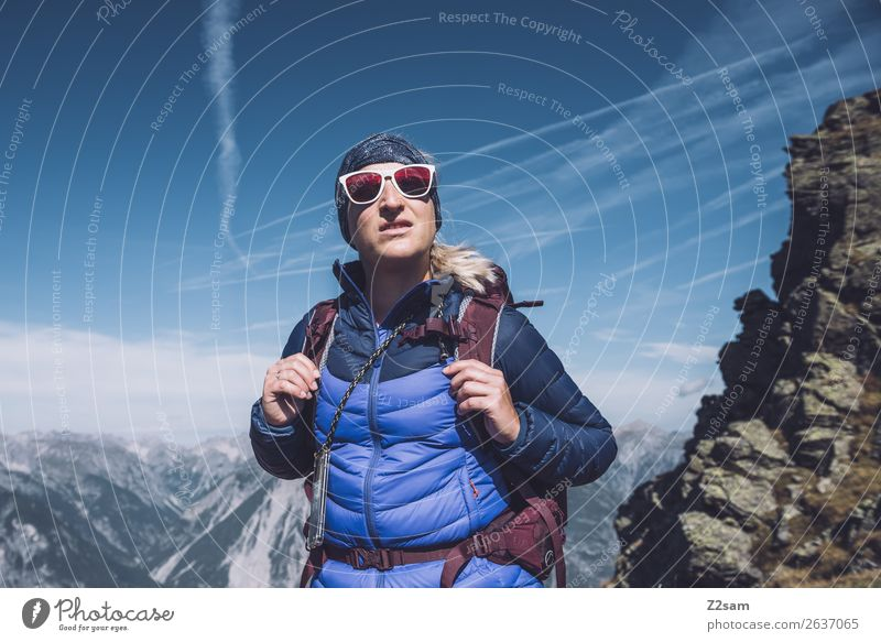 Young woman on top E5. Leisure and hobbies Vacation & Travel Adventure Hiking Youth (Young adults) 30 - 45 years Adults Nature Landscape Sky Beautiful weather