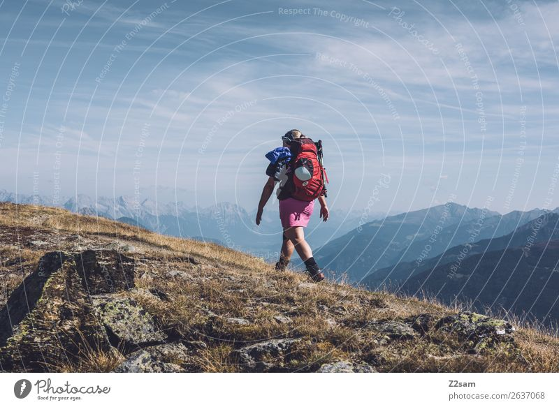 Sky Nature Youth (Young adults) Young woman Landscape Loneliness Mountain Going Leisure and hobbies Hiking Adventure Beautiful weather Peak Discover Alps