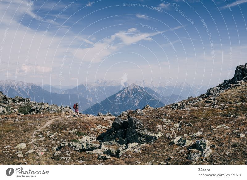 Young woman crossing the Alps   E5 Vacation & Travel Adventure Hiking Human being Nature Landscape Sky Summer Beautiful weather Mountain Peak Natural Blue Idyll