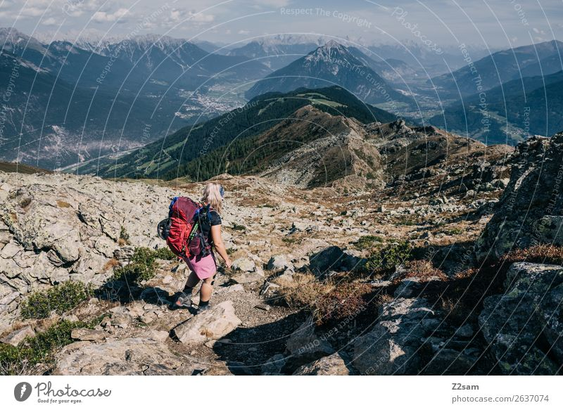 Nature Youth (Young adults) Young woman Landscape Mountain Environment Freedom Rock Leisure and hobbies Horizon Hiking Adventure Beautiful weather Peak Alps